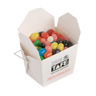 Promotional Product 100gm White Cardboard Noodle Box Filled with Jelly Beans