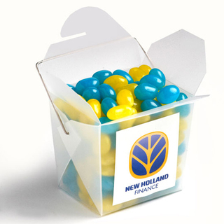 Promotional Product 100gm Frosted PP Noodle Box Filled with Jelly Beans  (Mixed Colours or Corporate Colours)