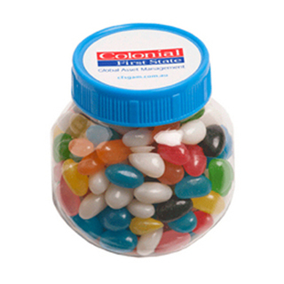 Promotional Product 170gm Plastic Jar Filled with Jelly Beans  (Corp Coloured or Mixed Coloured Jelly Beans)