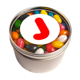 Promotional Product Small Round Acrylic Window Tin Fillled with Jelly Beans