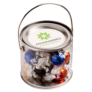 Promotional Product Medium PVC Bucket Filled with Lindt Lindor Balls X 14