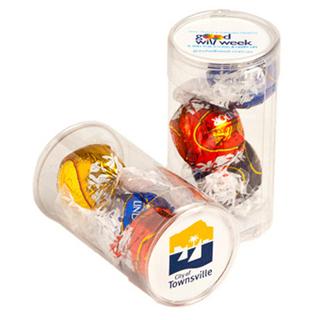 Promotional Product PET Tube filled x 3 Lindt Lindor Balls