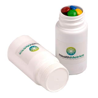 Promotional Product Pill Jar Filled with M&Ms 120G