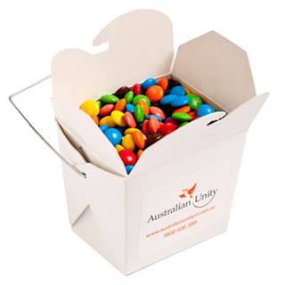 Promotional Product White Cardboard Noodle Box Filled with M&Ms 100G