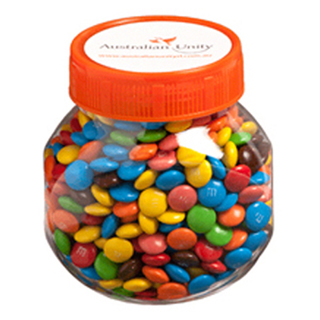 Promotional Product Plastic Jar Filled with M&Ms 145G