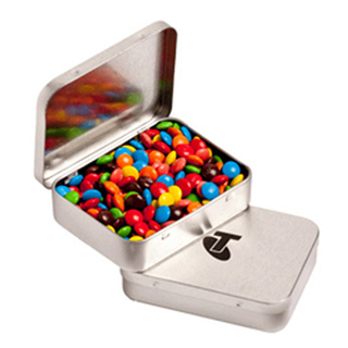 Promotional Product Rectangle Hinge Tin Fillled with M&Ms 65G