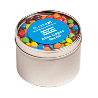 Promotional Product Small Round Acrylic Window Tin Fillled with M&Ms