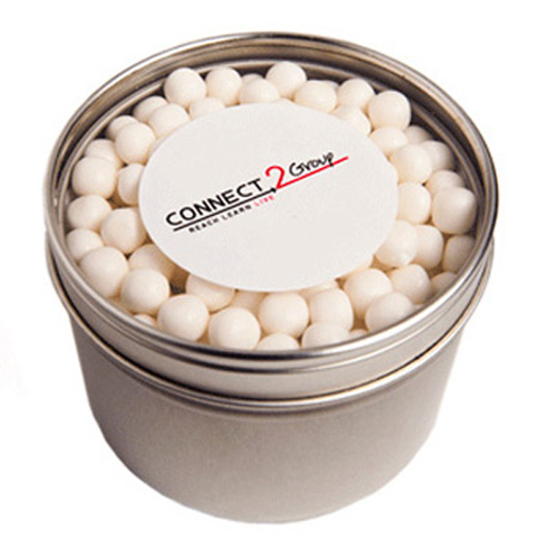 Promotional Product Small Round Acrylic Window Tin Fillled with Mints or Musks