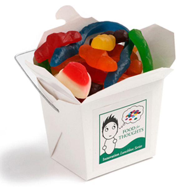 Promotional Product White Cardboard Noodle Box Filled with Mixed Lollies 100G
