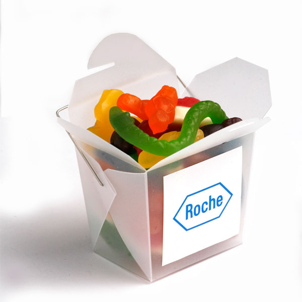 Promotional Product Frosted PP Noodle Box Filled with Mixed Lollies 100G