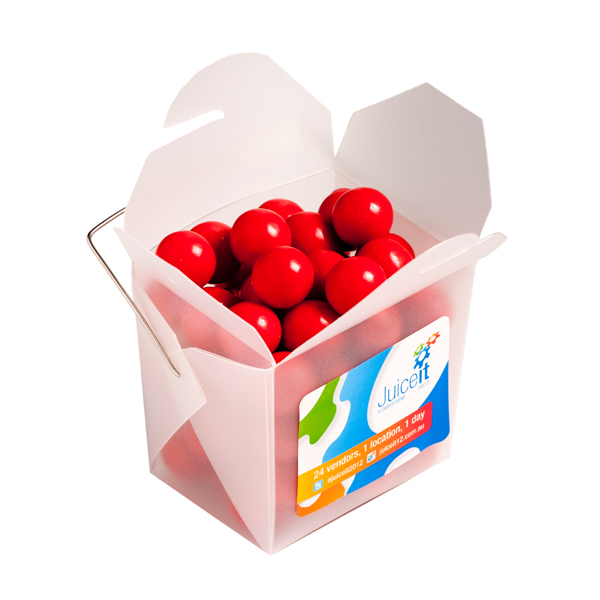 Promotional Product Frosted PP Noodle Box Filled with Orange Choc Drops (Jaffa Look Alike) 100G