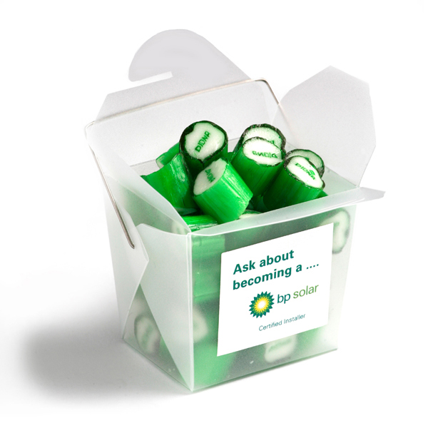 Promotional Product Frosted PP Noodle Box Filled with Personalised Rock Candy 100G