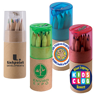 Promotional Product Coloured Pencils In Cardboard Tube With Sharpener