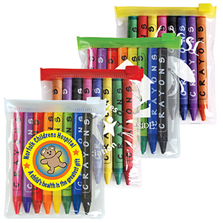 Promotional Product Assorted Colour Crayons In Pvc Zippered Pouch