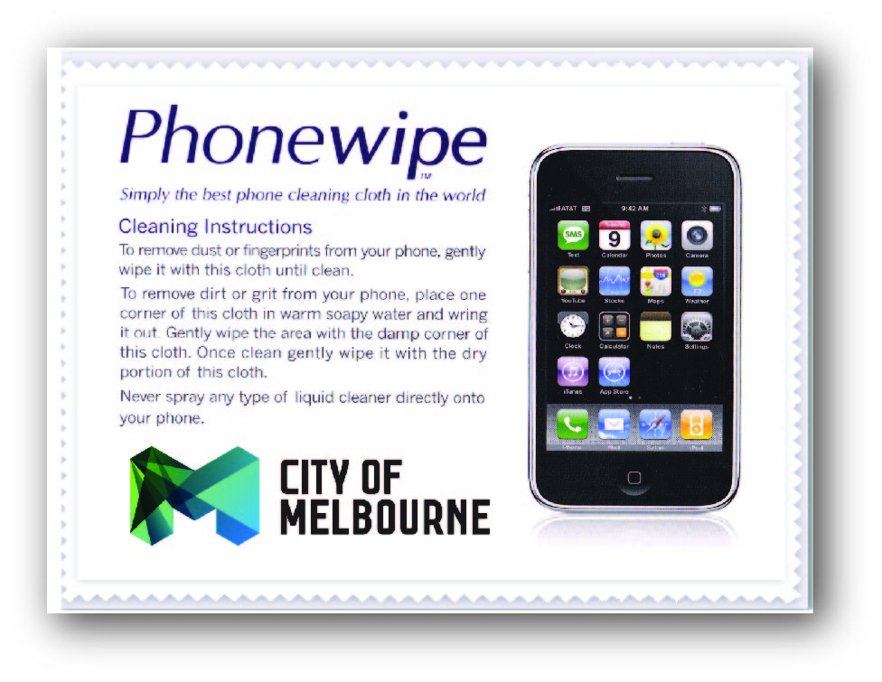 Promotional Product Phonewipe in clear cellophane bag