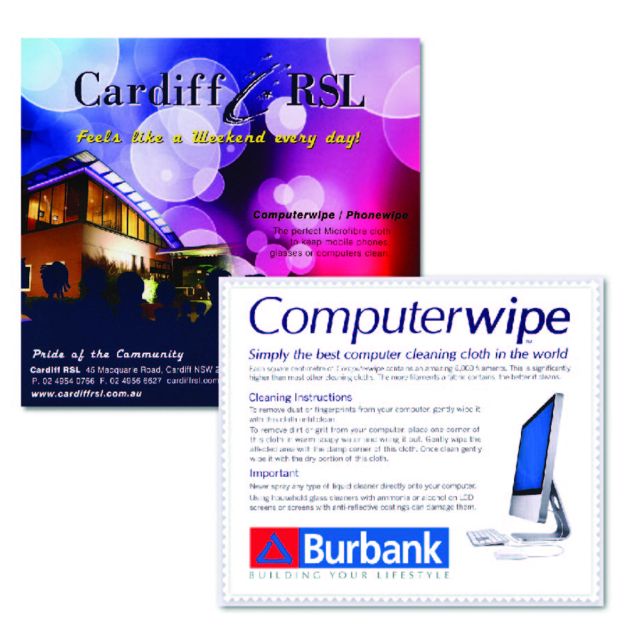 Promotional Product Medium Computer Wipe in clear cellophane bag