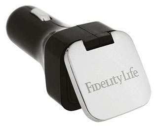 Promotional Product Dual USB Car Charger with Flip Top