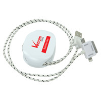 Promotional Product Long Woven Combo Cable with Whizzer Retractable Cable Organiser