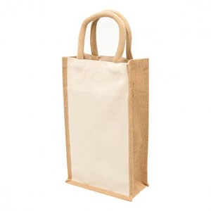Promotional Product Eco Jute 2 Bottle Wine Bag