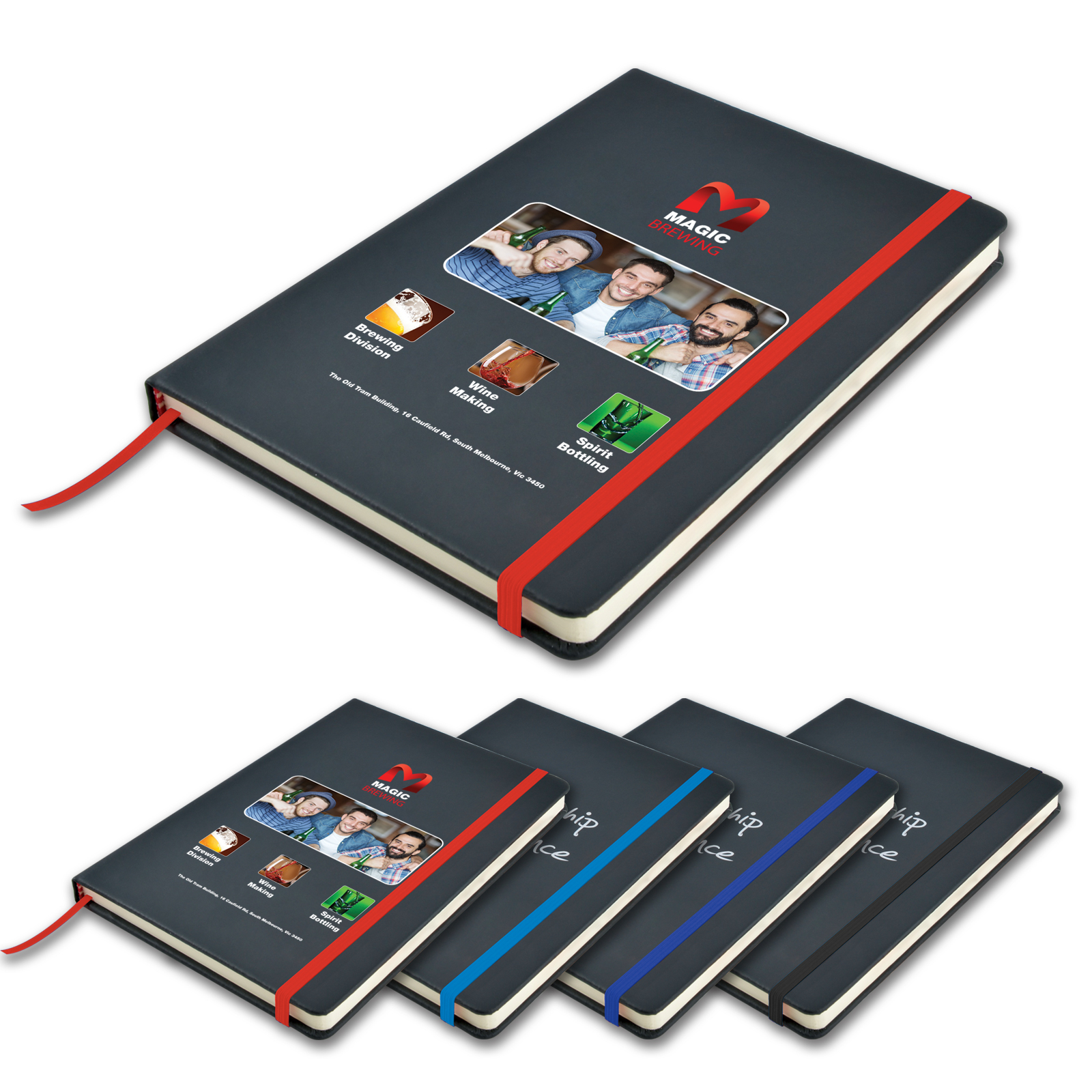 Promotional Product Venture A5 Black PU Notebook with Elastic Closure