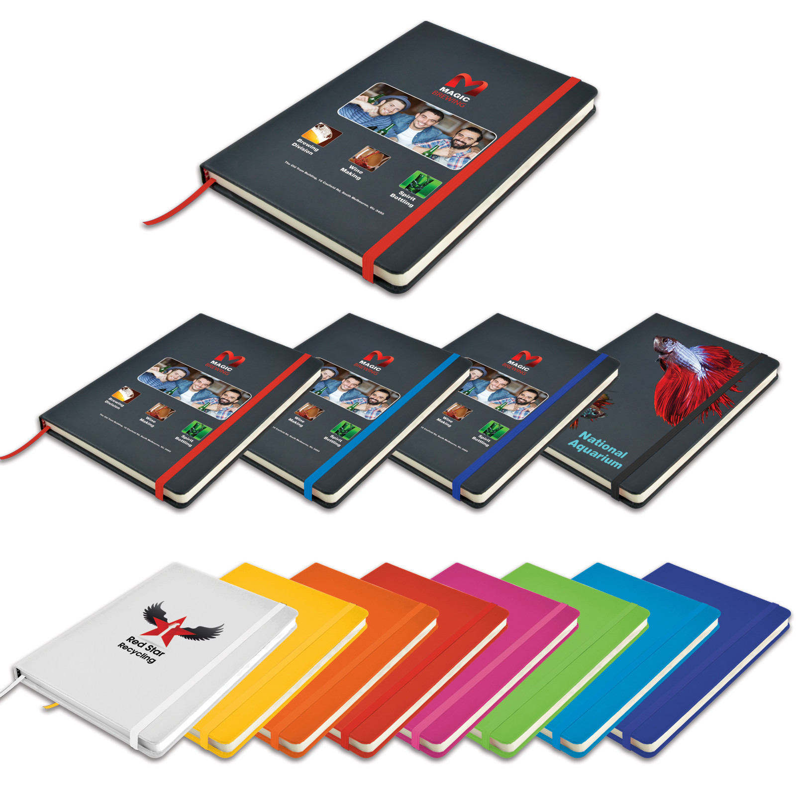 Promotional Product Venture A5 PU Notebook with Elastic Closure