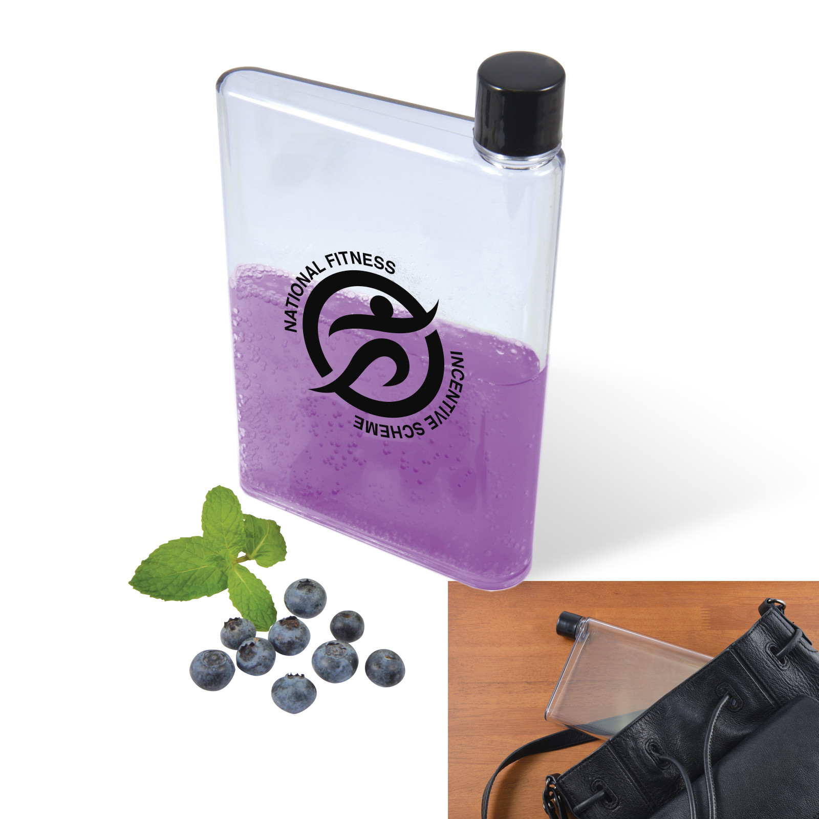 Promotional Product Transparent Flat Drink Bottle - 500ml