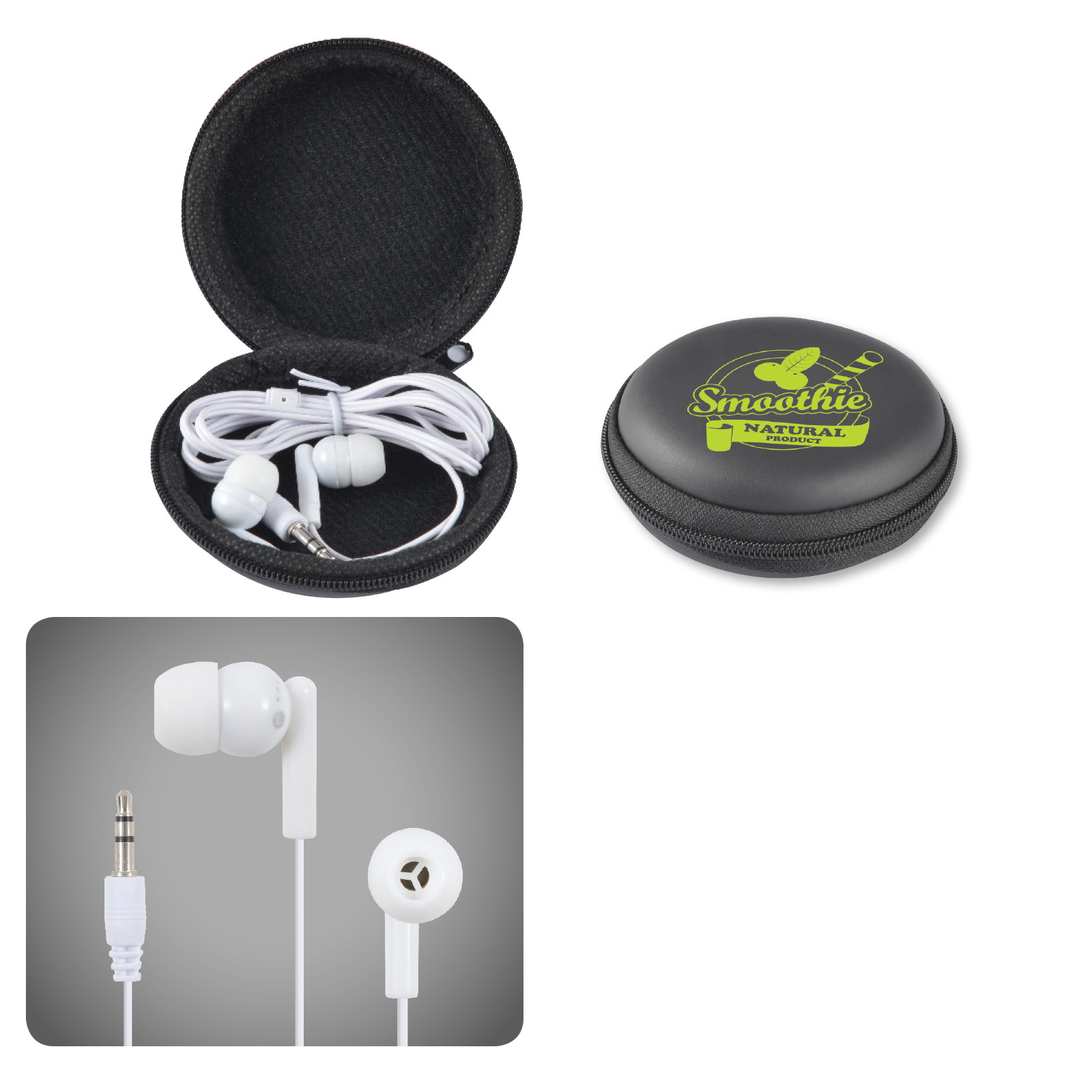 Promotional Product Earbud / Headphone Set in Round EVA Zippered Case