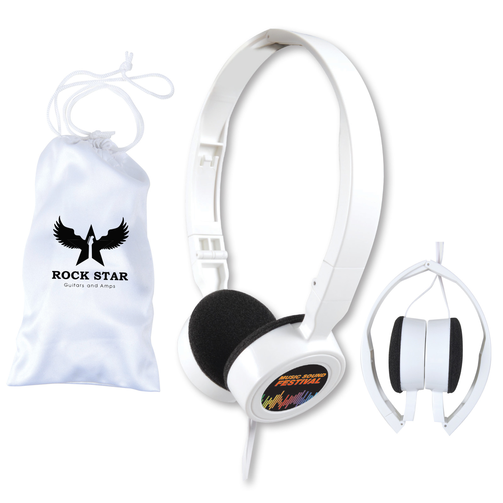 Promotional Product Symphony Set of Folding Headphones in White Pouch