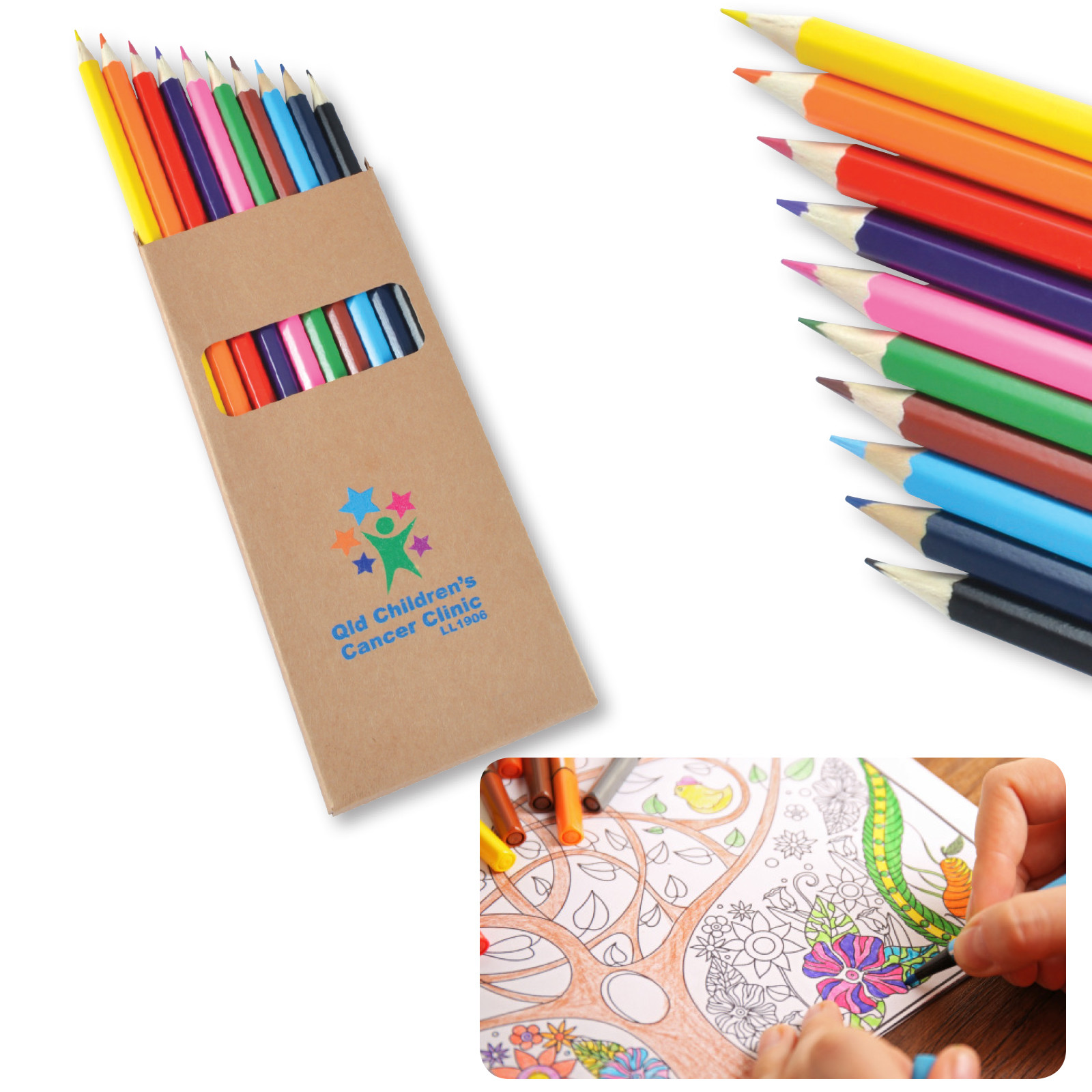 Promotional Product Coloured Full Length Colouring Pencils 10 Pack
