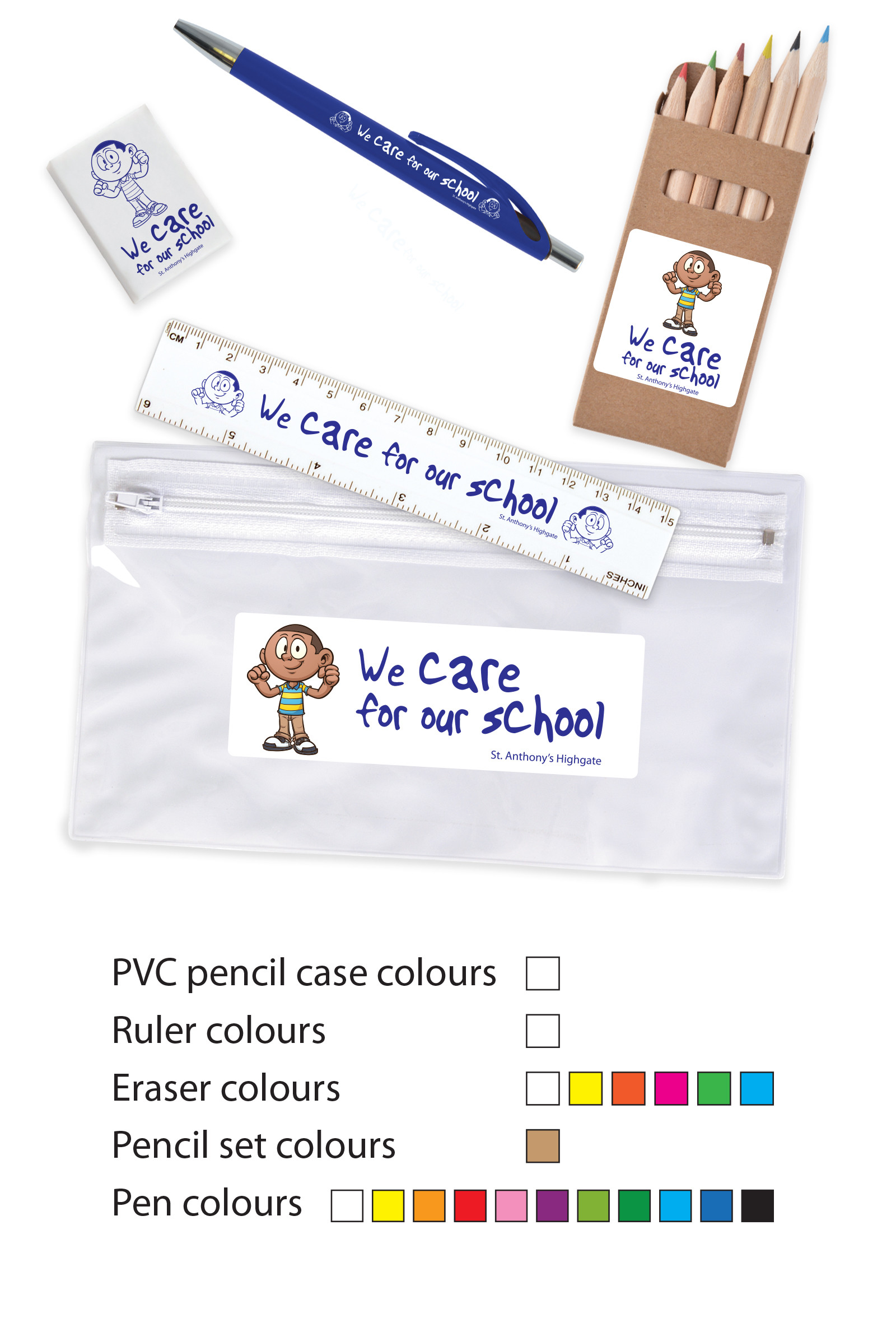 Promotional Product Stationery Set Combo in PVC Pencil Case