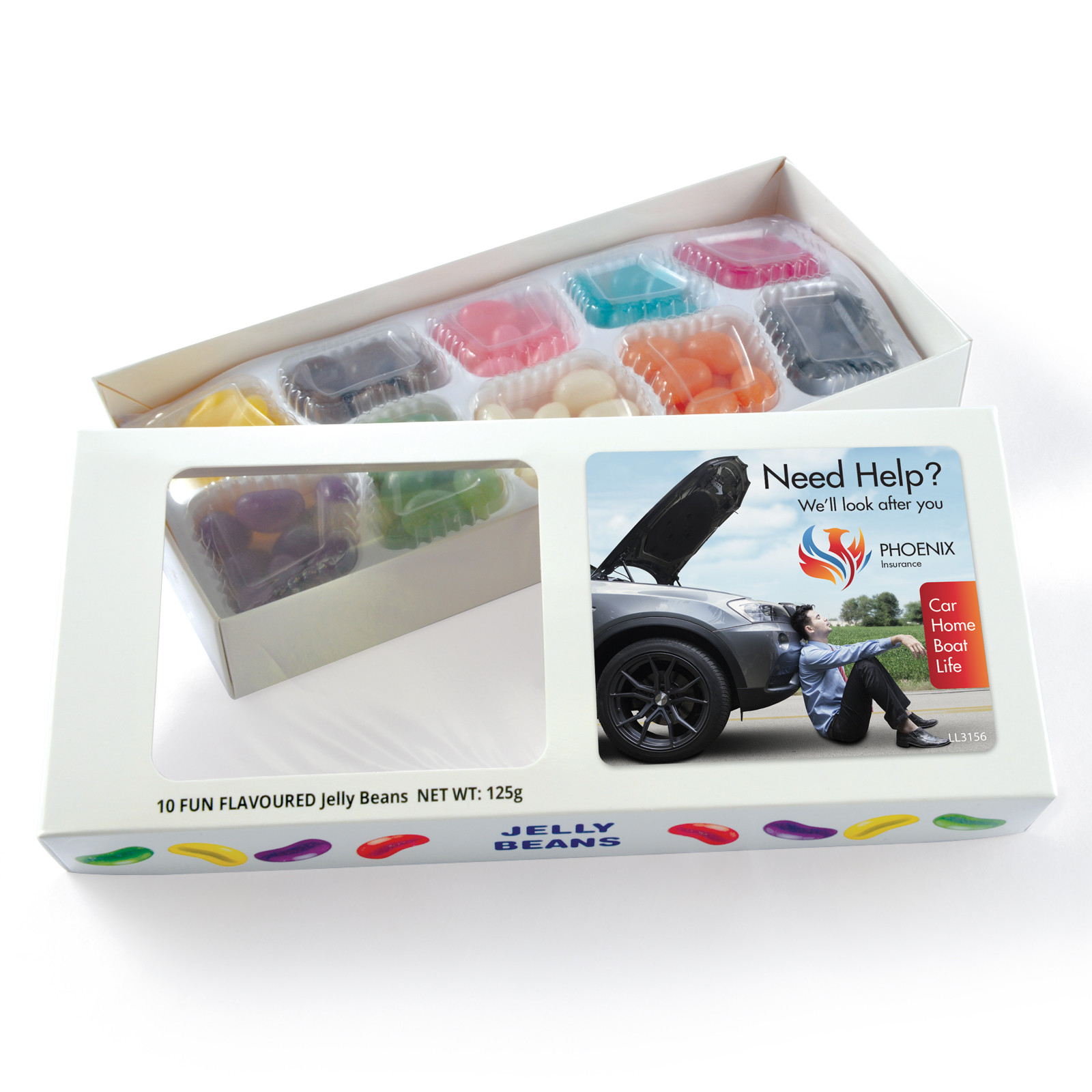 Promotional Product Assorted Colour/Flavour Jelly Beans in Box - 125 Grams
