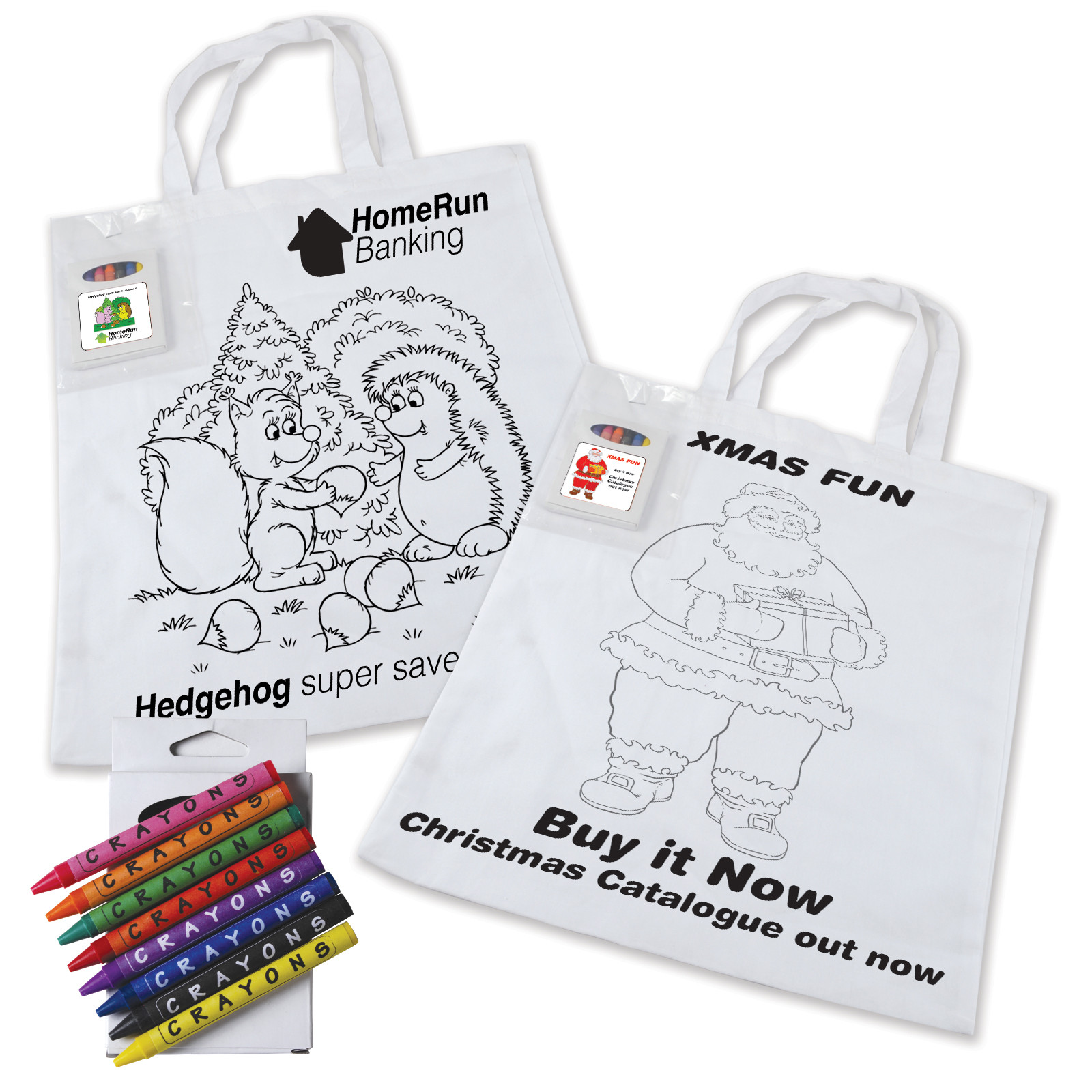 Promotional Product Colouring in Short Handle Tote Bag with Crayons
