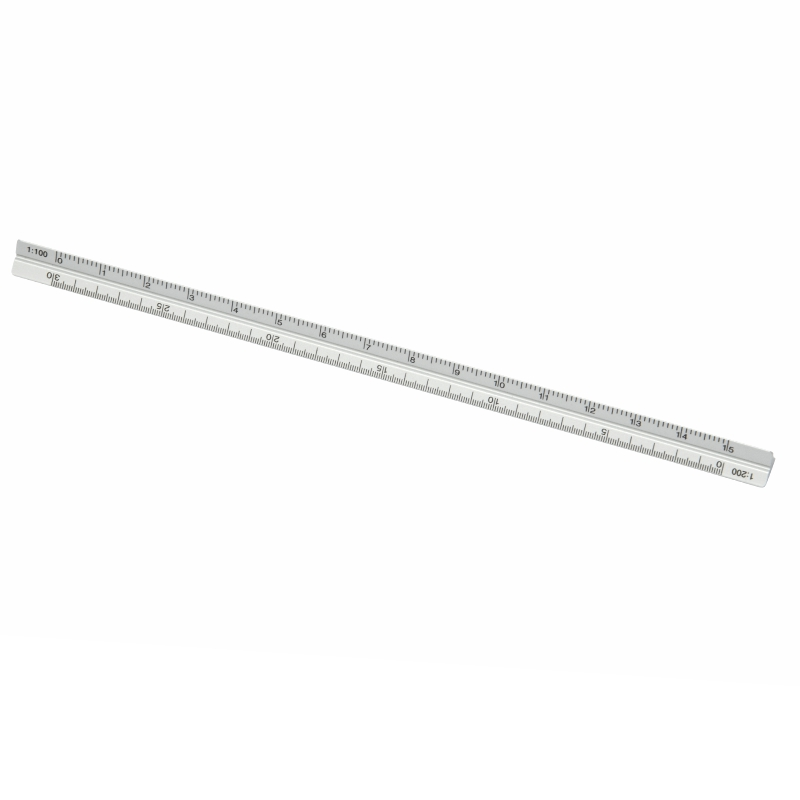 Promotional Product Tri-Side Scale Rule, Silver