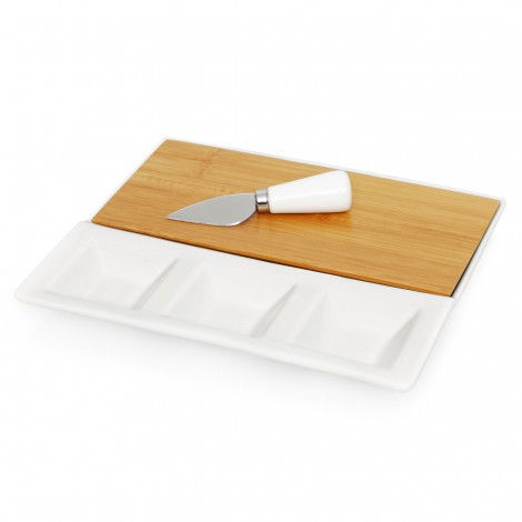 Promotional Product 3pc Ceramic/Bamboo Cheese Set