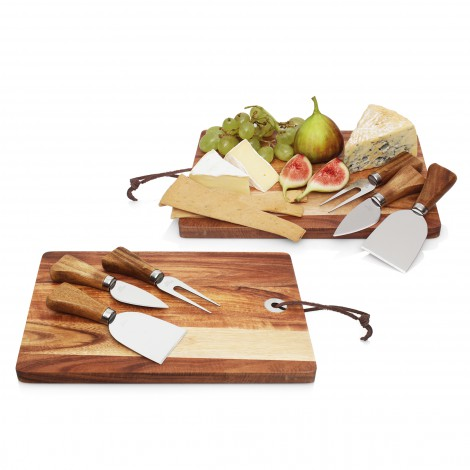 Promotional Product 4pc Cheese Set w/Acacia Wood Cheese Board