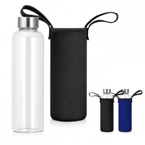 Promotional Product 600mL Glass Drink Bottle w/Neoprene Sleeve