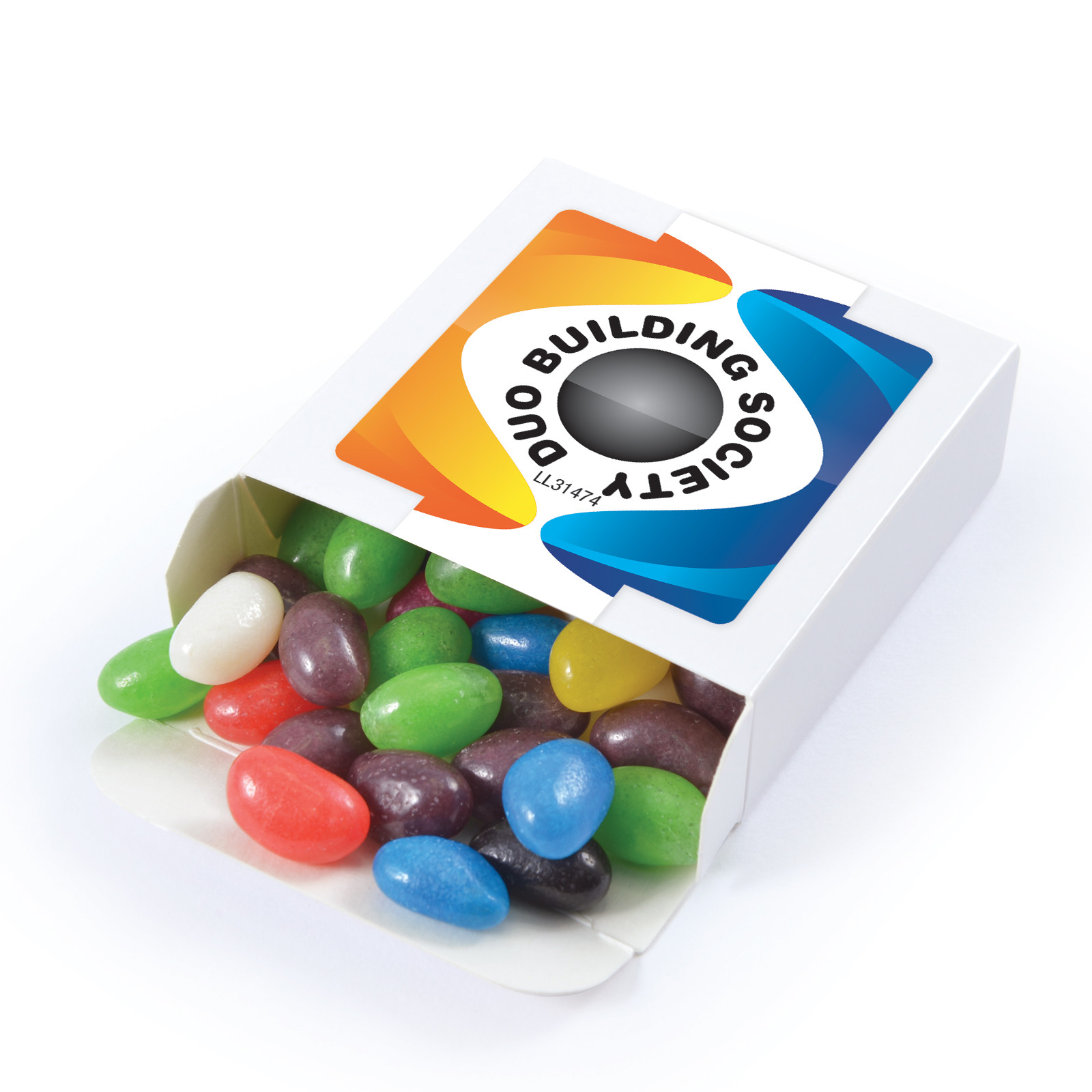Promotional Product Assorted Colour Jelly Beans in 50 gram Box