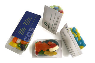 Promotional Product Biz card treats with choc beans (smarties)