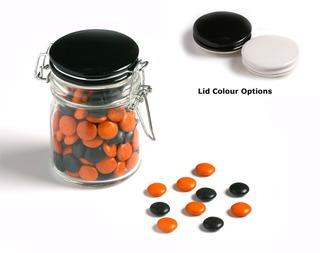 Promotional Product 160gm Choc Beans in Medium Clip Lock Jar