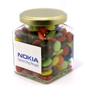 Promotional Product 170gm Choc Beans in Square Jar