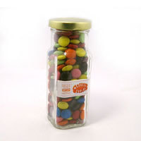 Promotional Product Corporate, Mixed or Single Colour Choc Beans (Smarties) in Tall Glass Jar