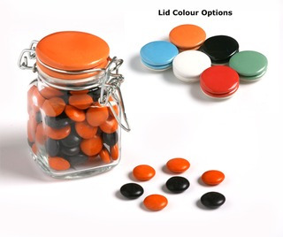 Promotional Product 80gm Choc Beans in Clip Lock Jar