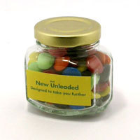 Promotional Product Corporate, Mixed or Single Colour Choc Beans (Smarties) in Squexagonal Glass Jar