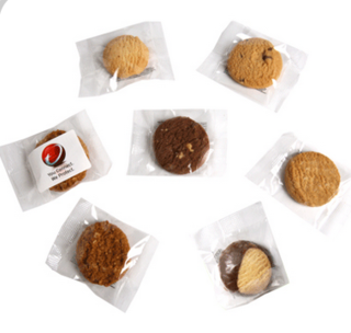 Promotional Product Individual Biscuit in cello bag with Full Colour Sticker