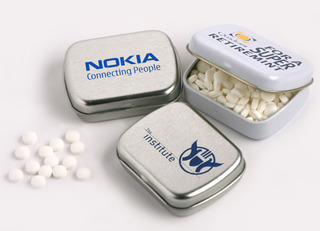 Promotional Product Mints in Small Rectangle Tin