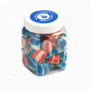 Promotional Product Corporate Coloured Humbugs in Plastic Jar 150g