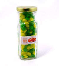 Promotional Product 180gm Corporate Coloured Humbugs in Tall Glass Jar