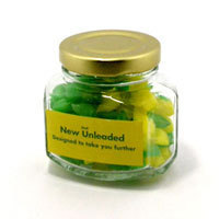 Promotional Product 80gm Corporate Coloured Humbugs in Squexagonal Glass Jar