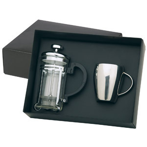 Promotional Product Stainless Steel Coffee Mug and Plunger Set
