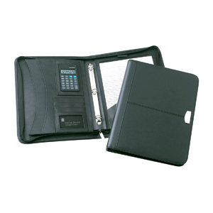 Promotional Product ESSEX LEATHER ZIPPERED 3 RING COMPENDIUM